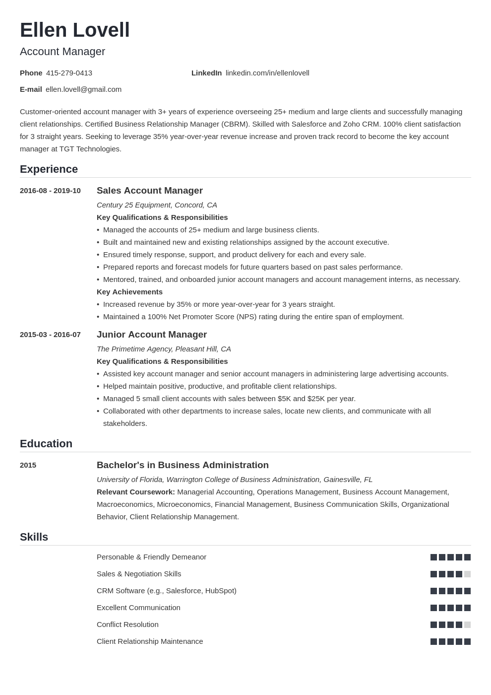 account manager template nanica uk