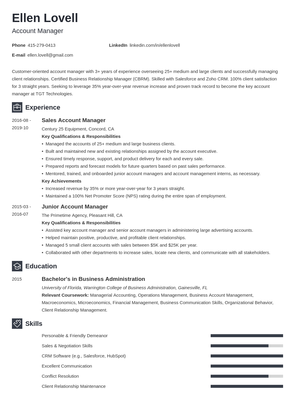 account manager template newcast