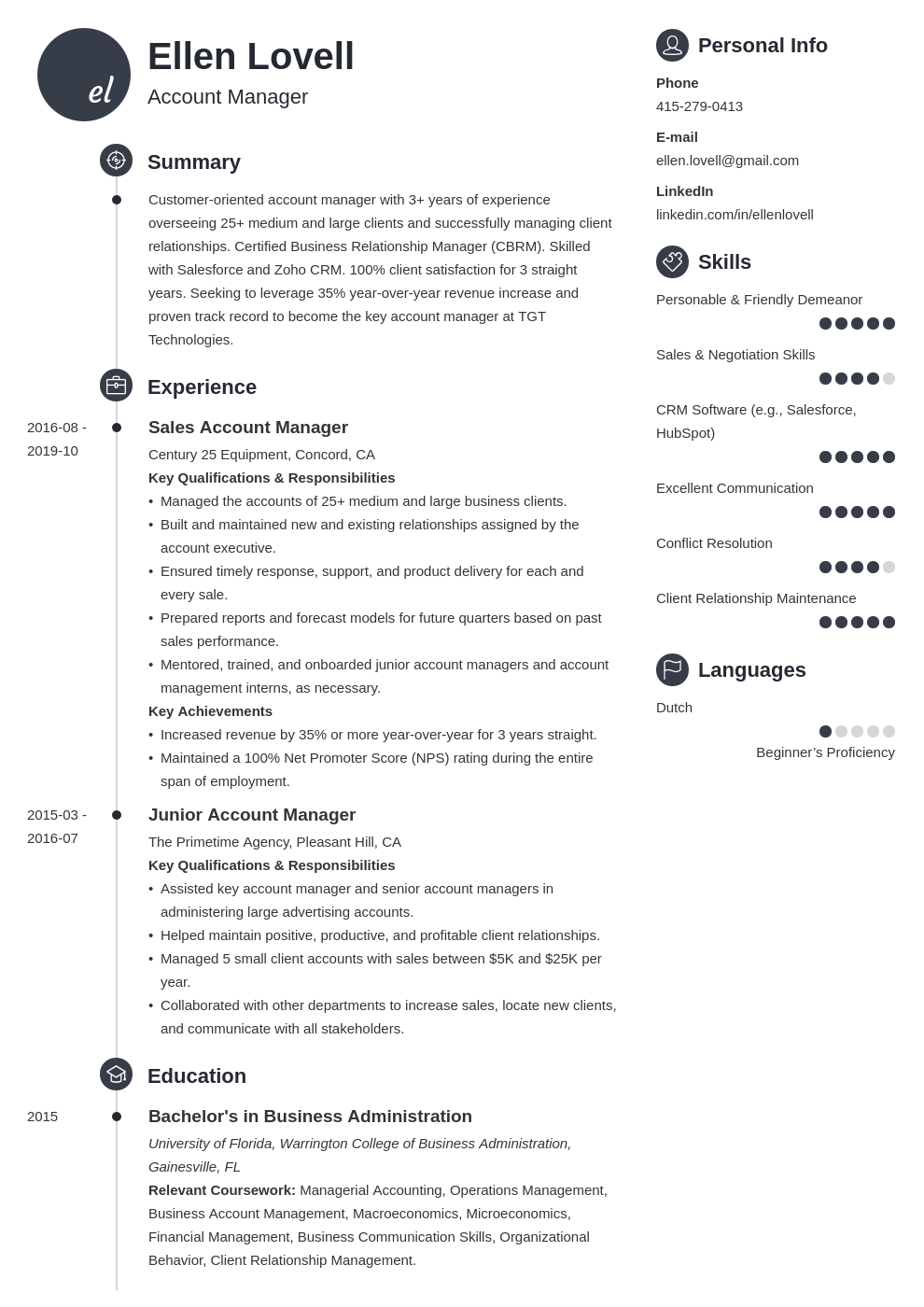 account manager template primo uk