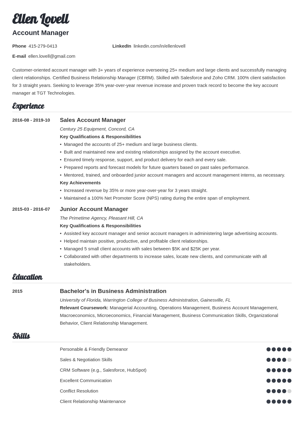 account manager template valera uk