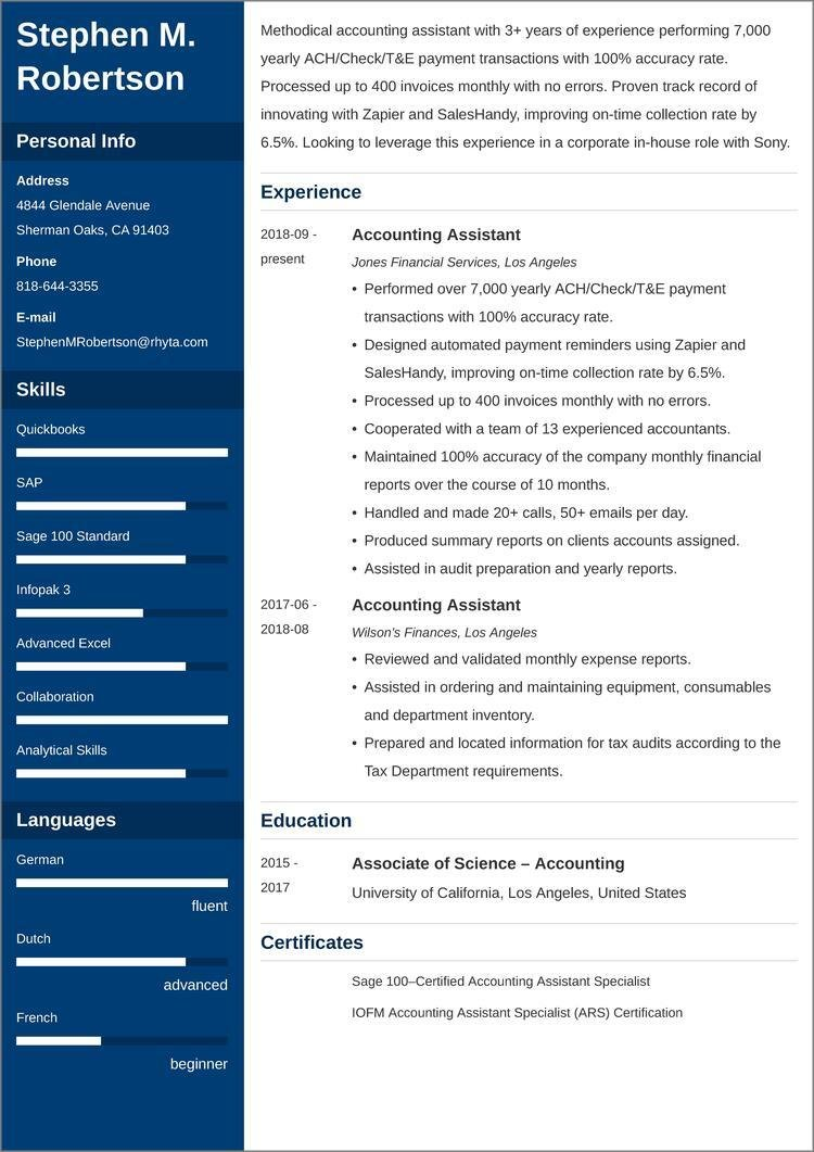 accounting assistant CV templates