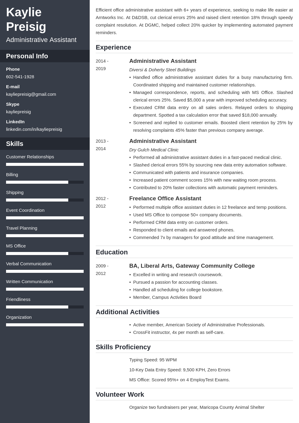 administrative assistant template cascade uk
