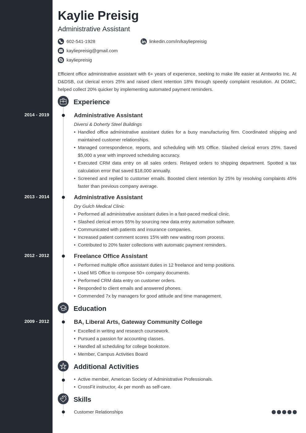 administrative assistant template concept uk