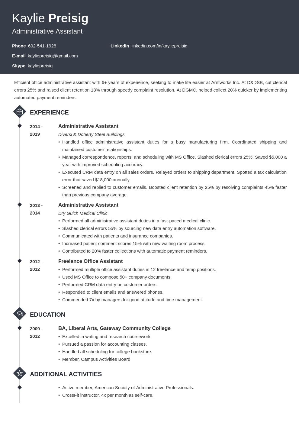 administrative assistant template diamond uk