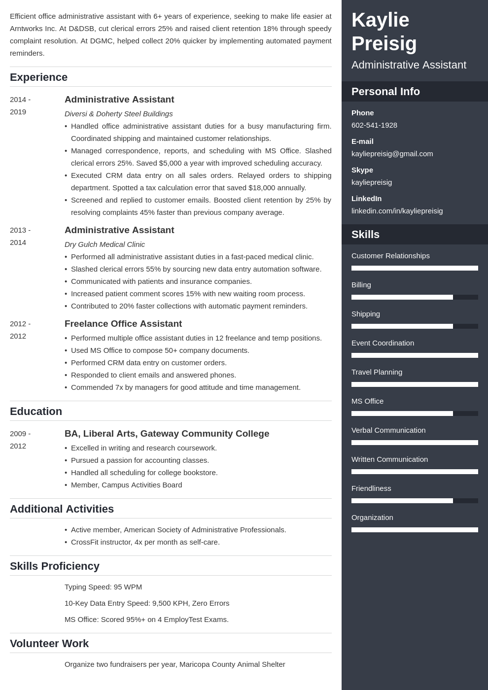 administrative assistant template enfold uk