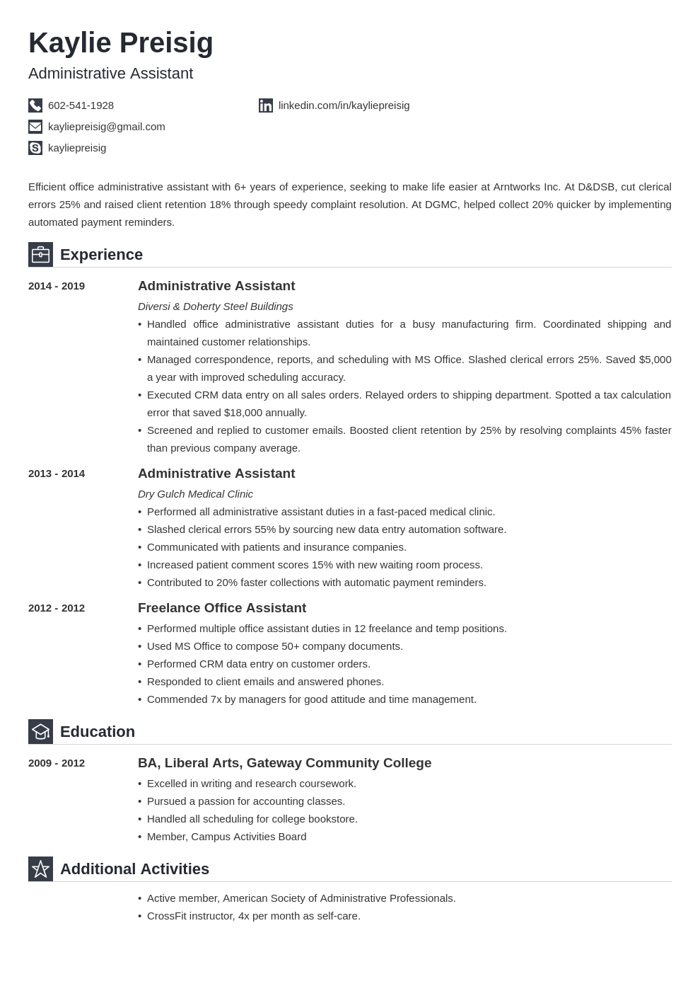 administrative assistant template iconic uk
