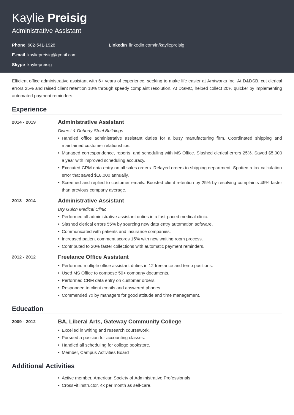 administrative assistant template influx