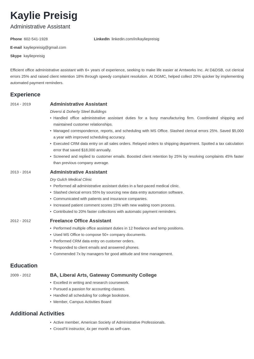 administrative assistant template minimo uk