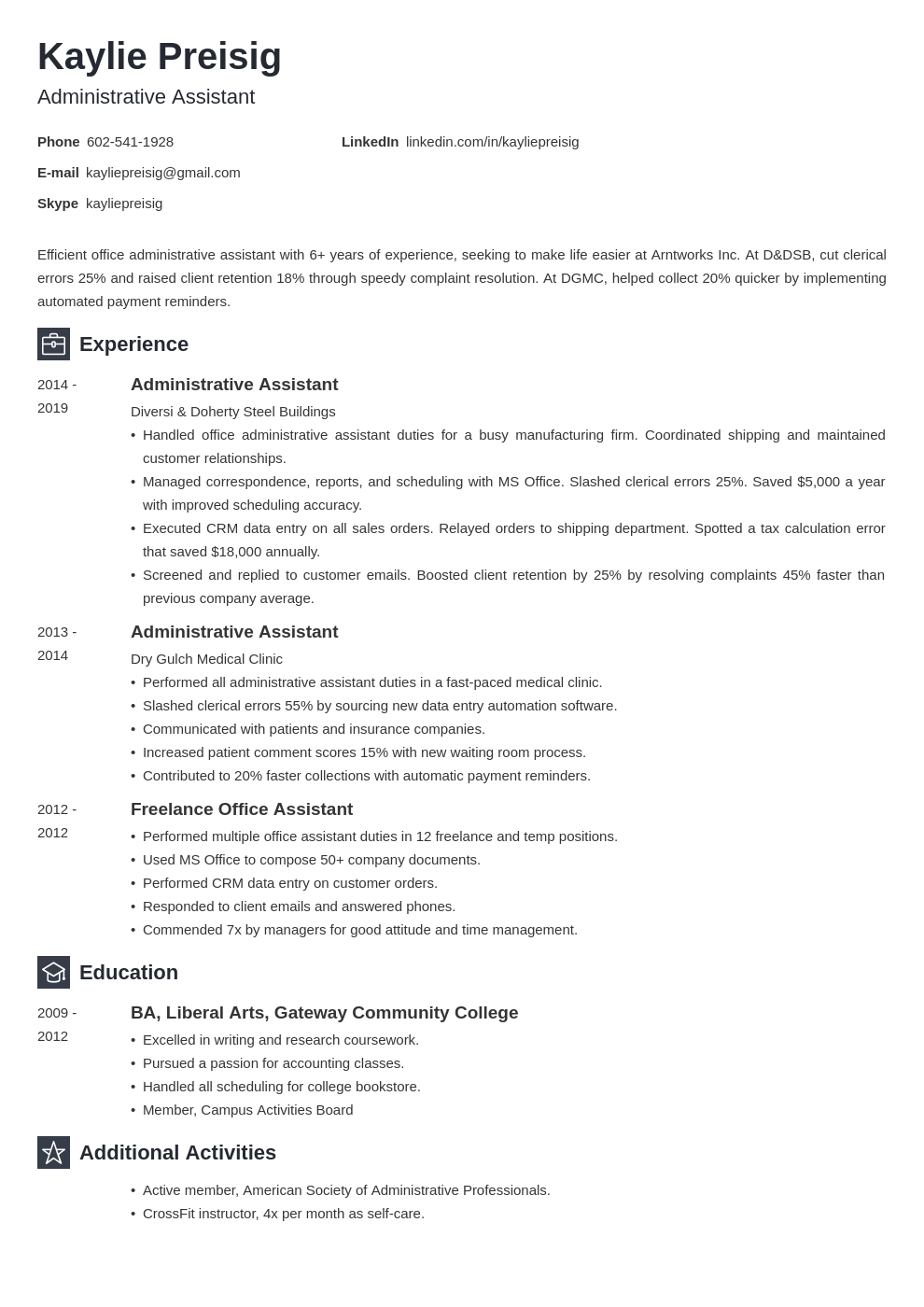 administrative assistant template newcast uk