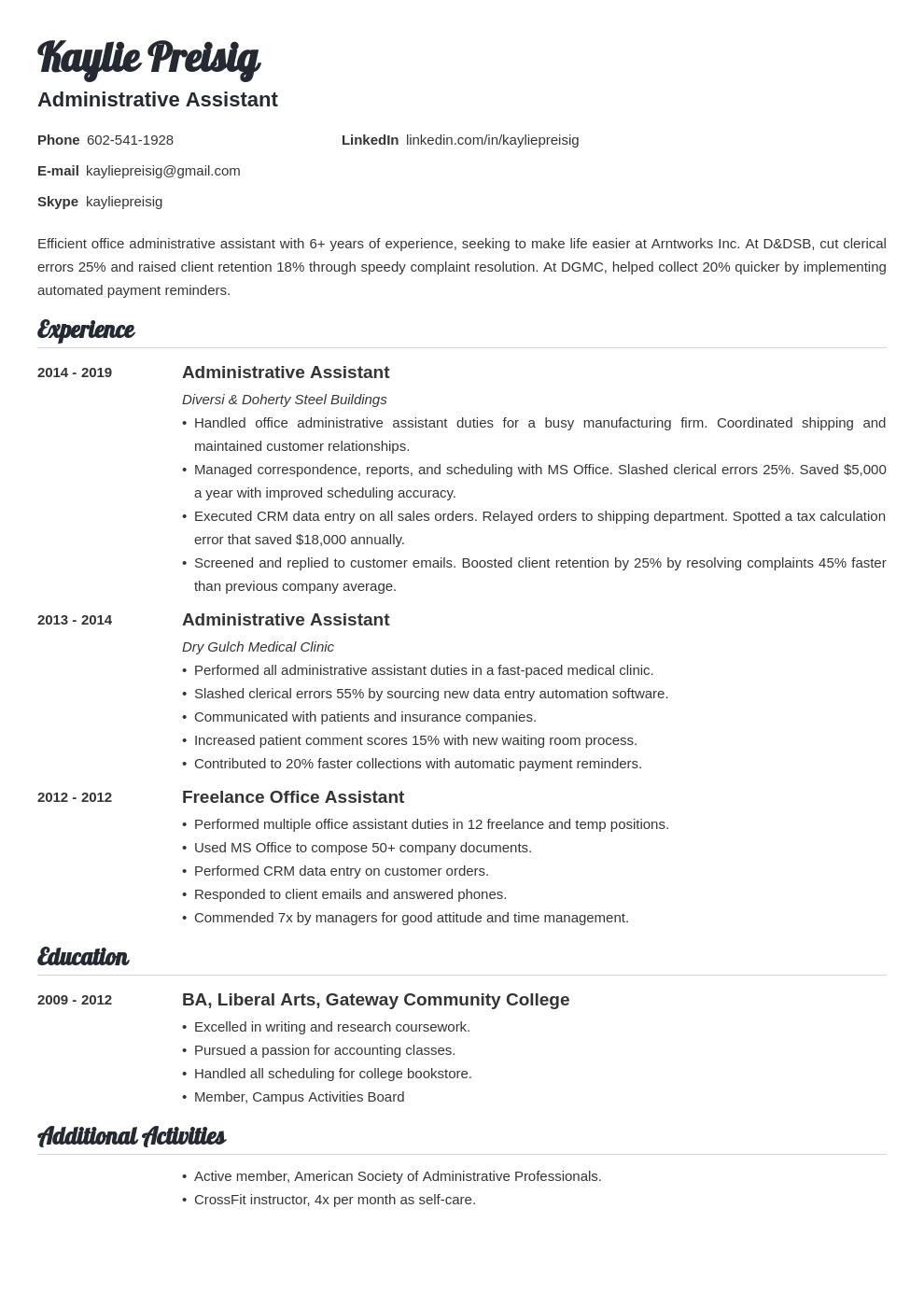 administrative assistant template valera uk
