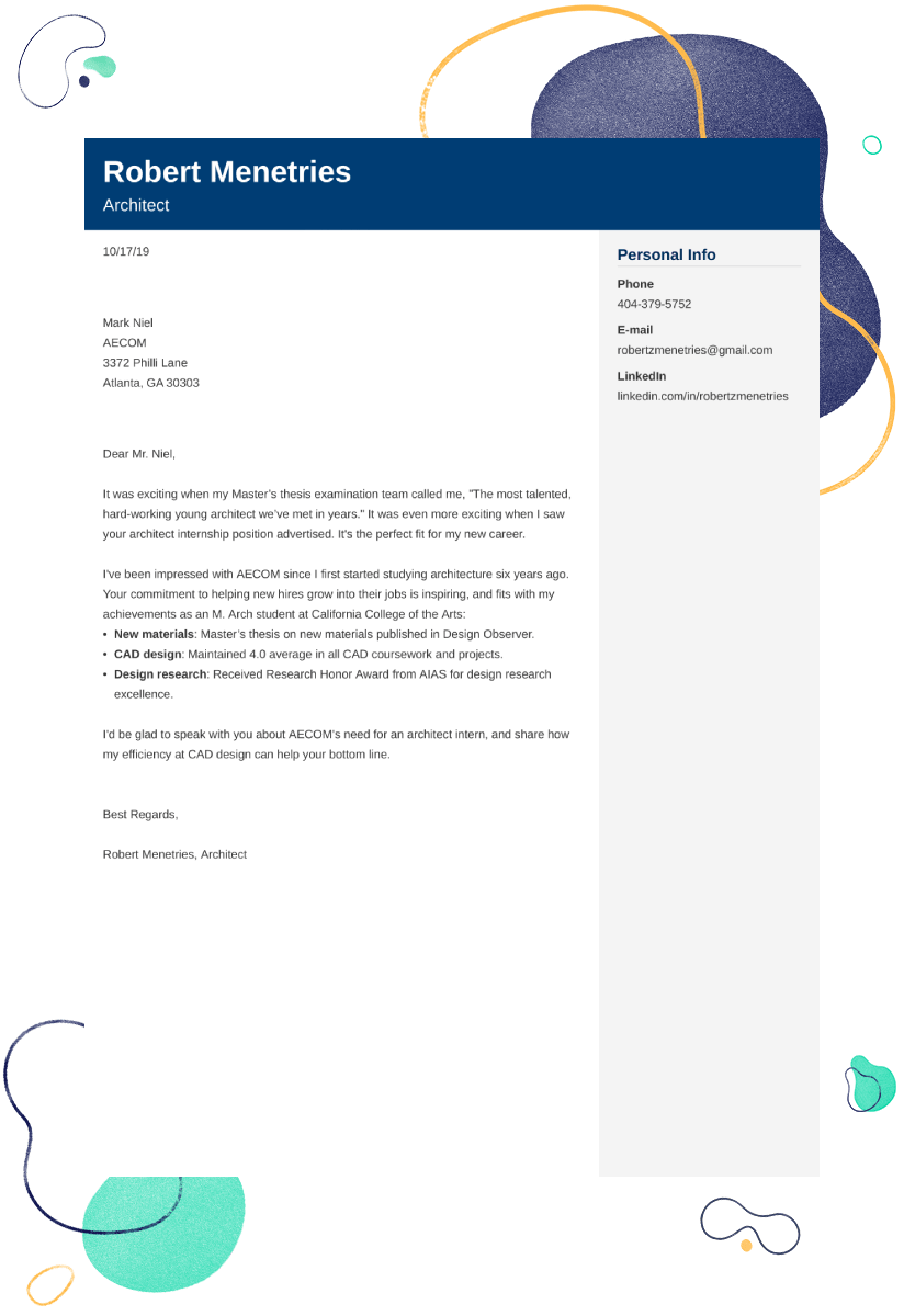 Architecture Cover Letter Examples Ready To Use Templates