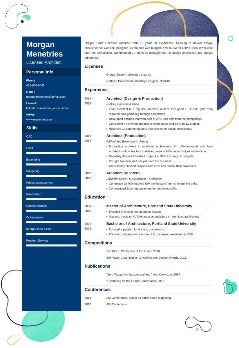 Architecture Resume Examples—Sample, Guide and 25+ Writing Tips