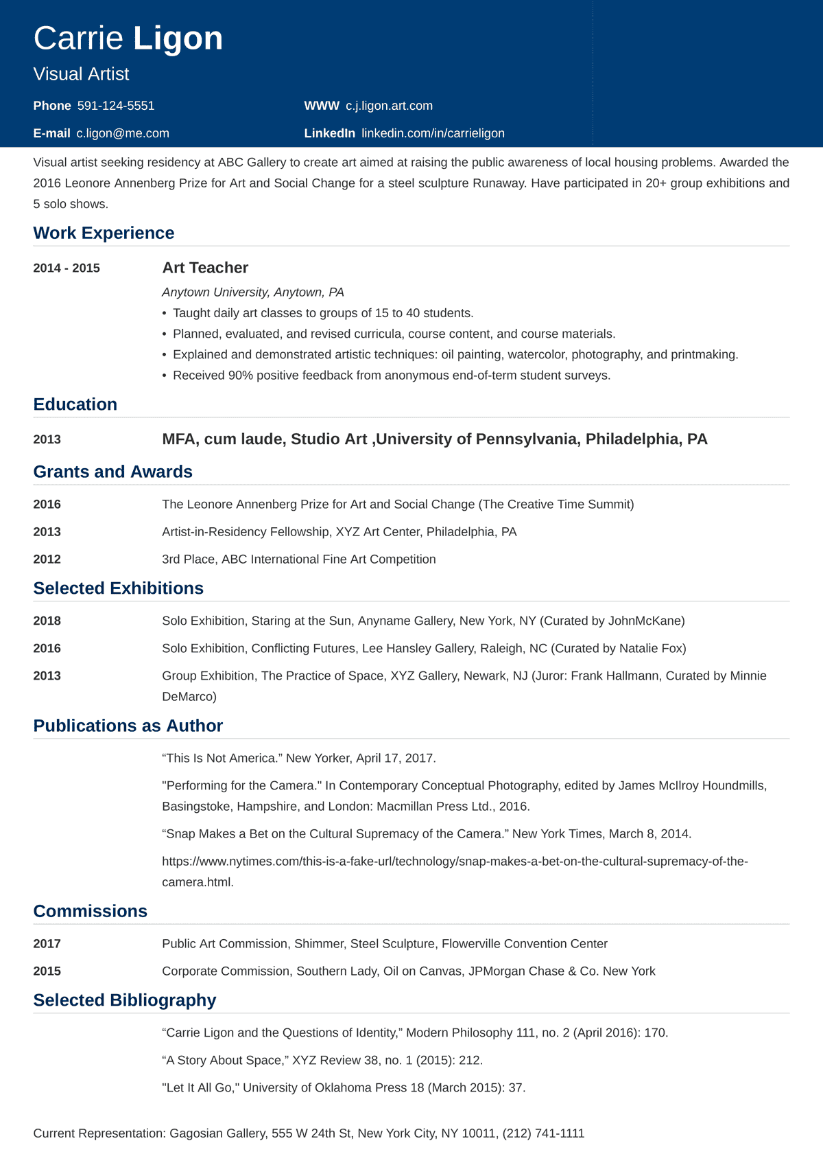 artist resumeartist cv sample—examples and writing tips