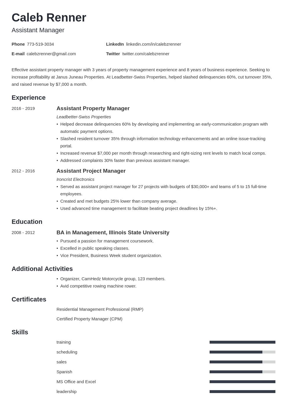 assistant manager template minimo uk