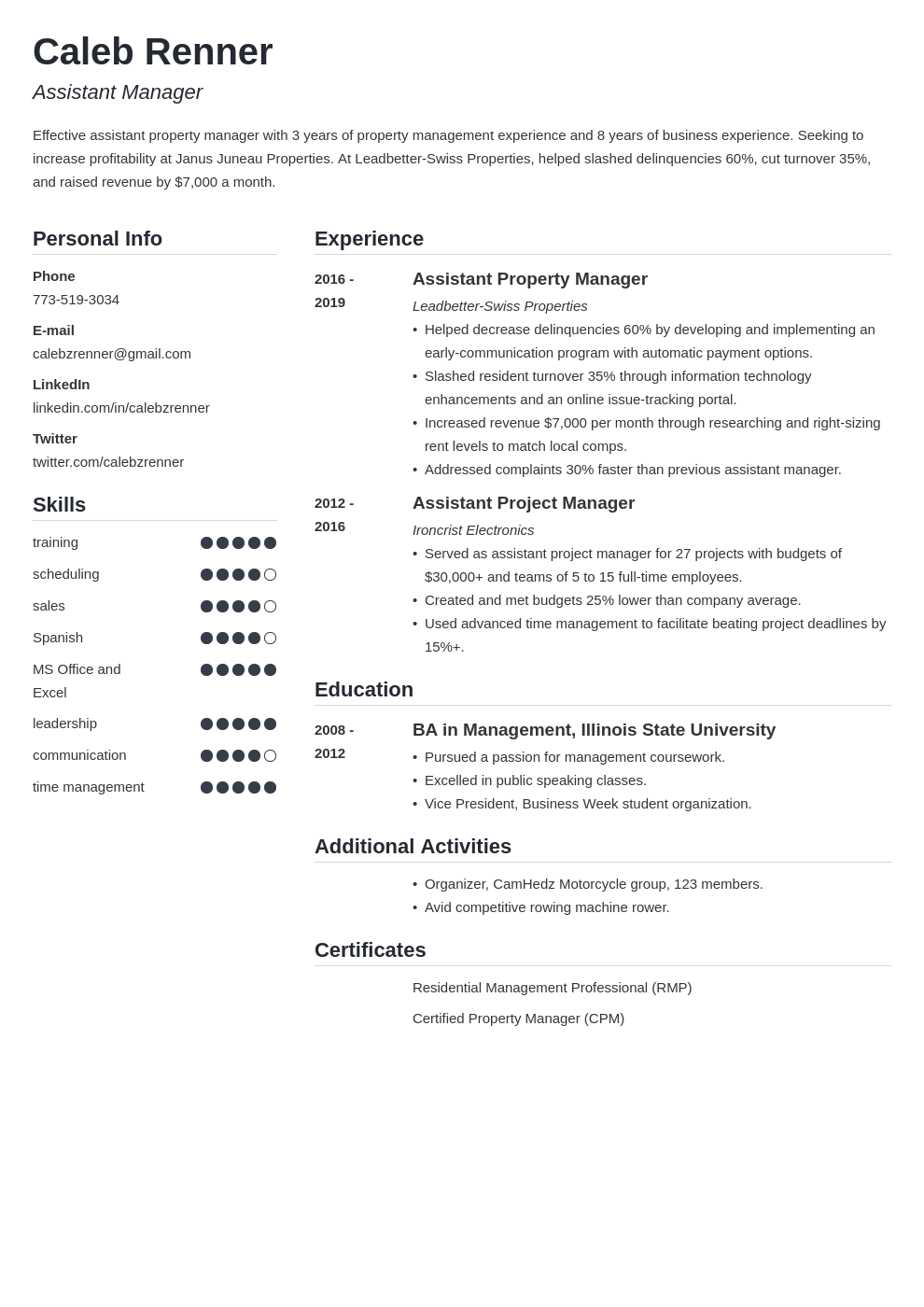 assistant manager template simple uk