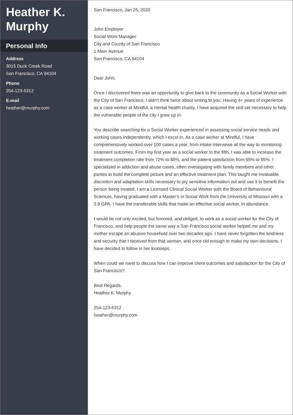 Social Work Cover Letter Example Ready To Use Templates