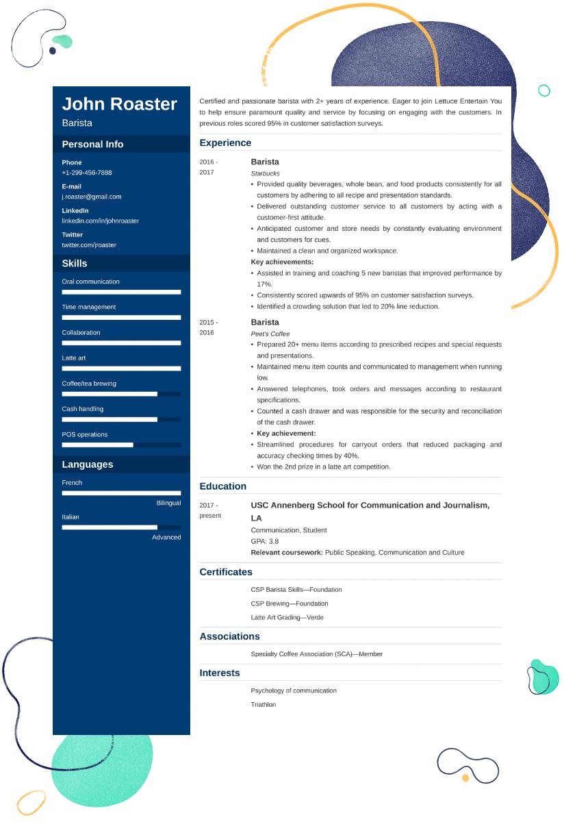 Resume Examples Barista Best Resume Ideas
