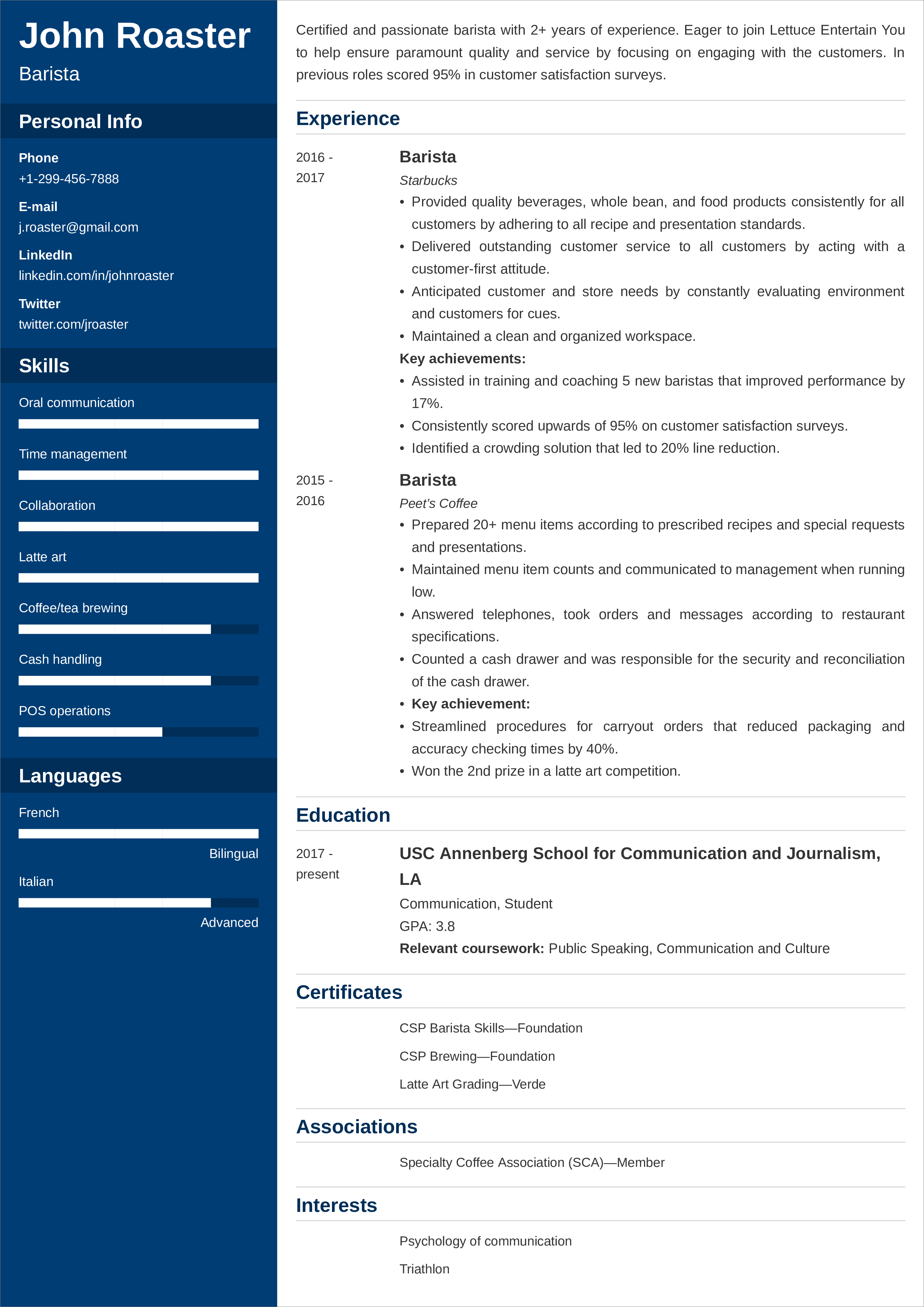 Barista Resume Sample Examples 25 Writing Tips Complete