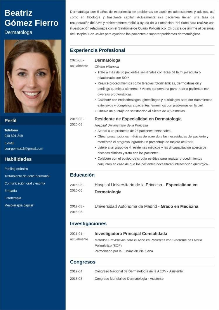 medico modelos de currículum