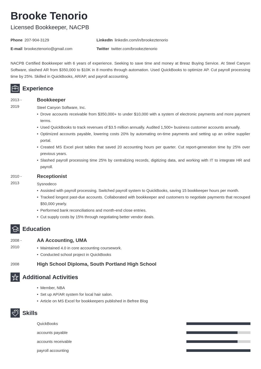 bookkeeper template newcast