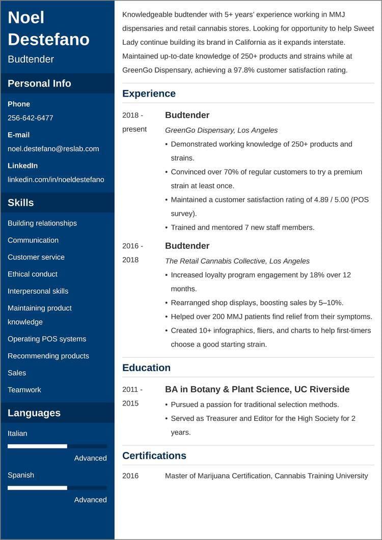 budtender resume templates
