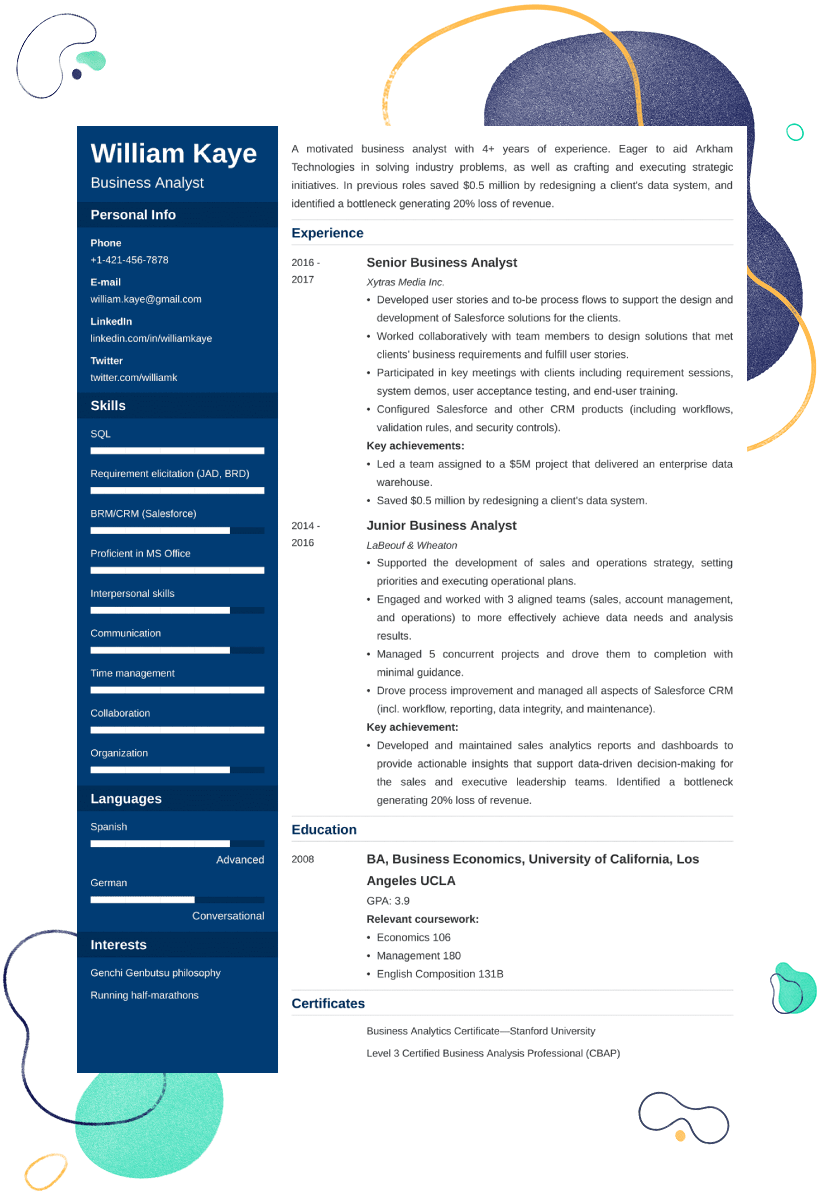 Business Analyst Resume Sample 25 Examples And Writing Tips