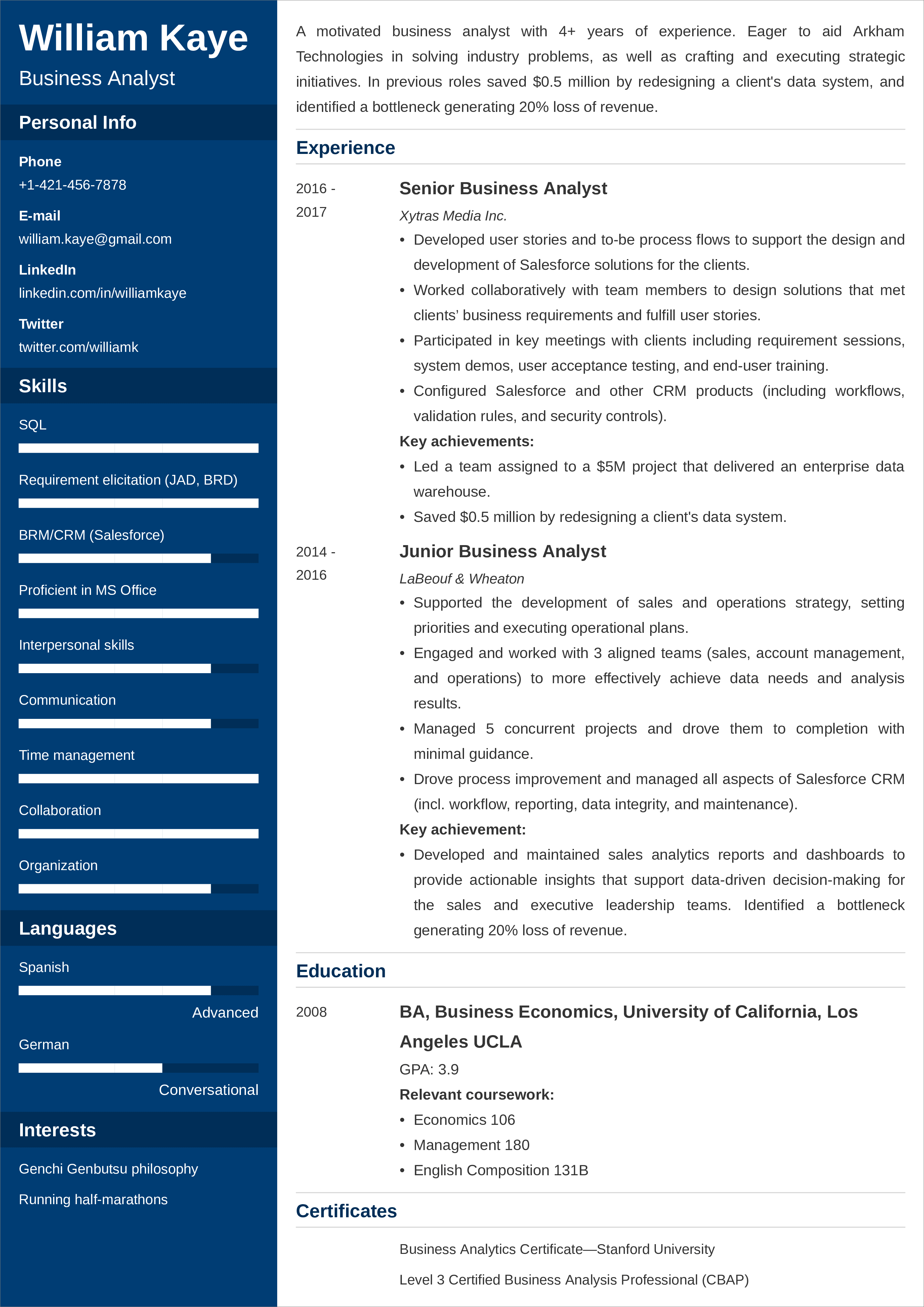 sample resume templates