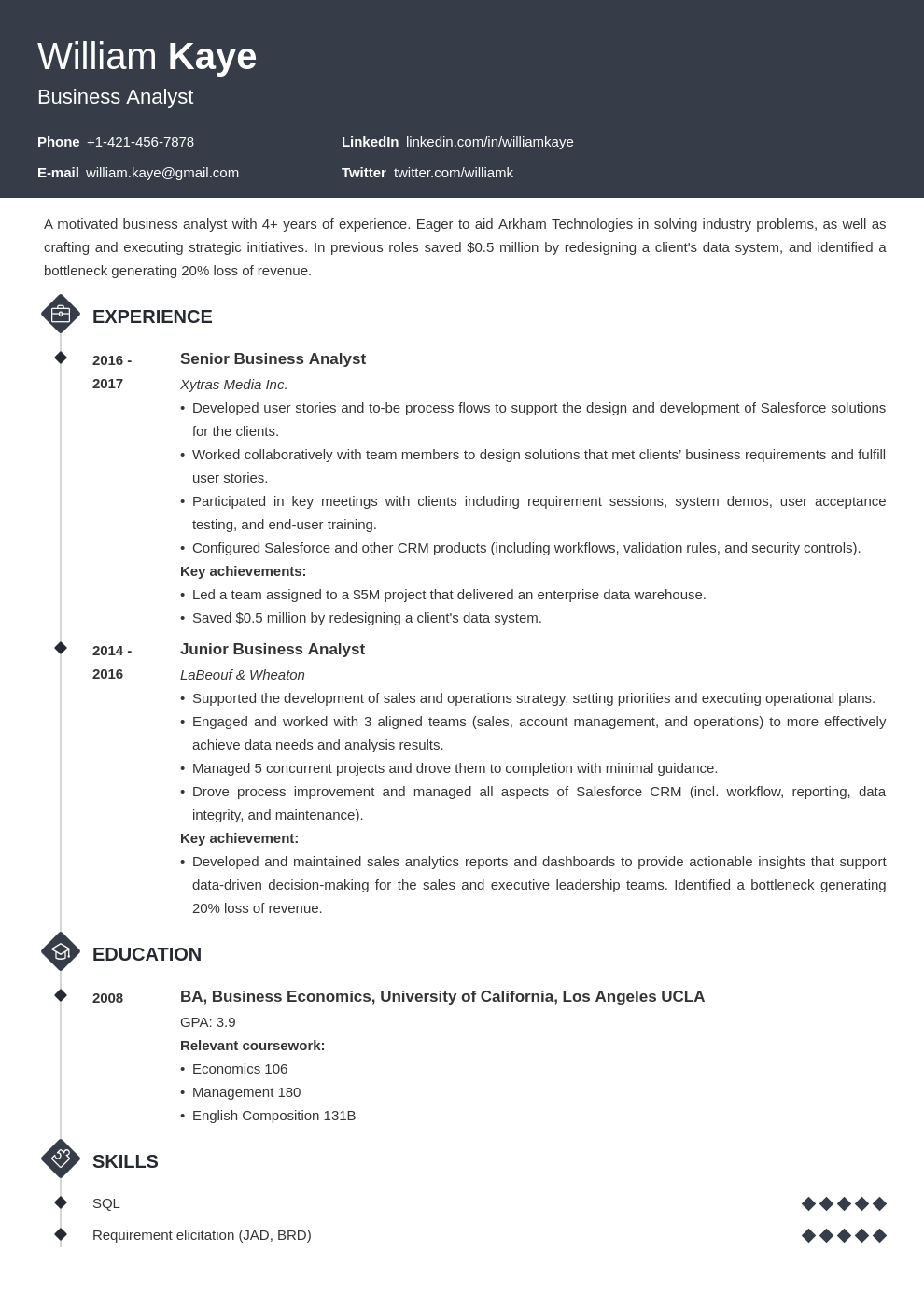 business analyst template diamond uk