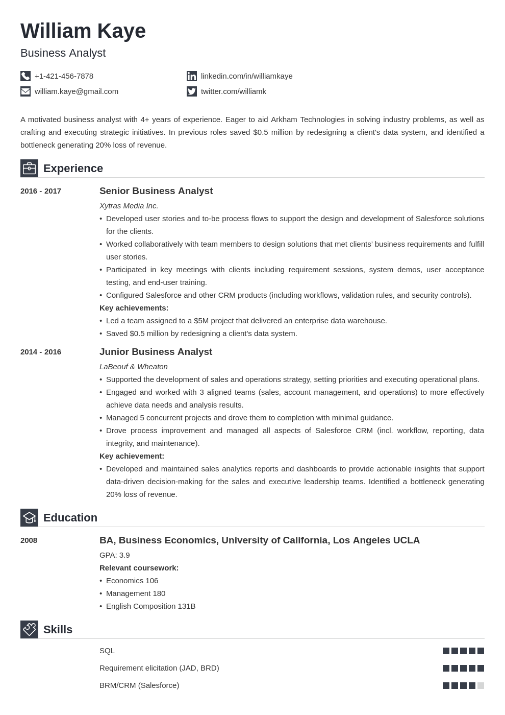 business analyst template iconic uk