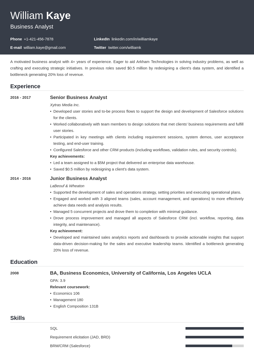 business analyst template influx uk