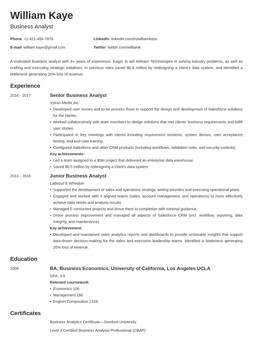 business analyst template minimo uk