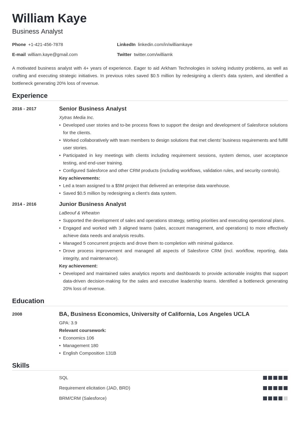 business analyst template nanica uk