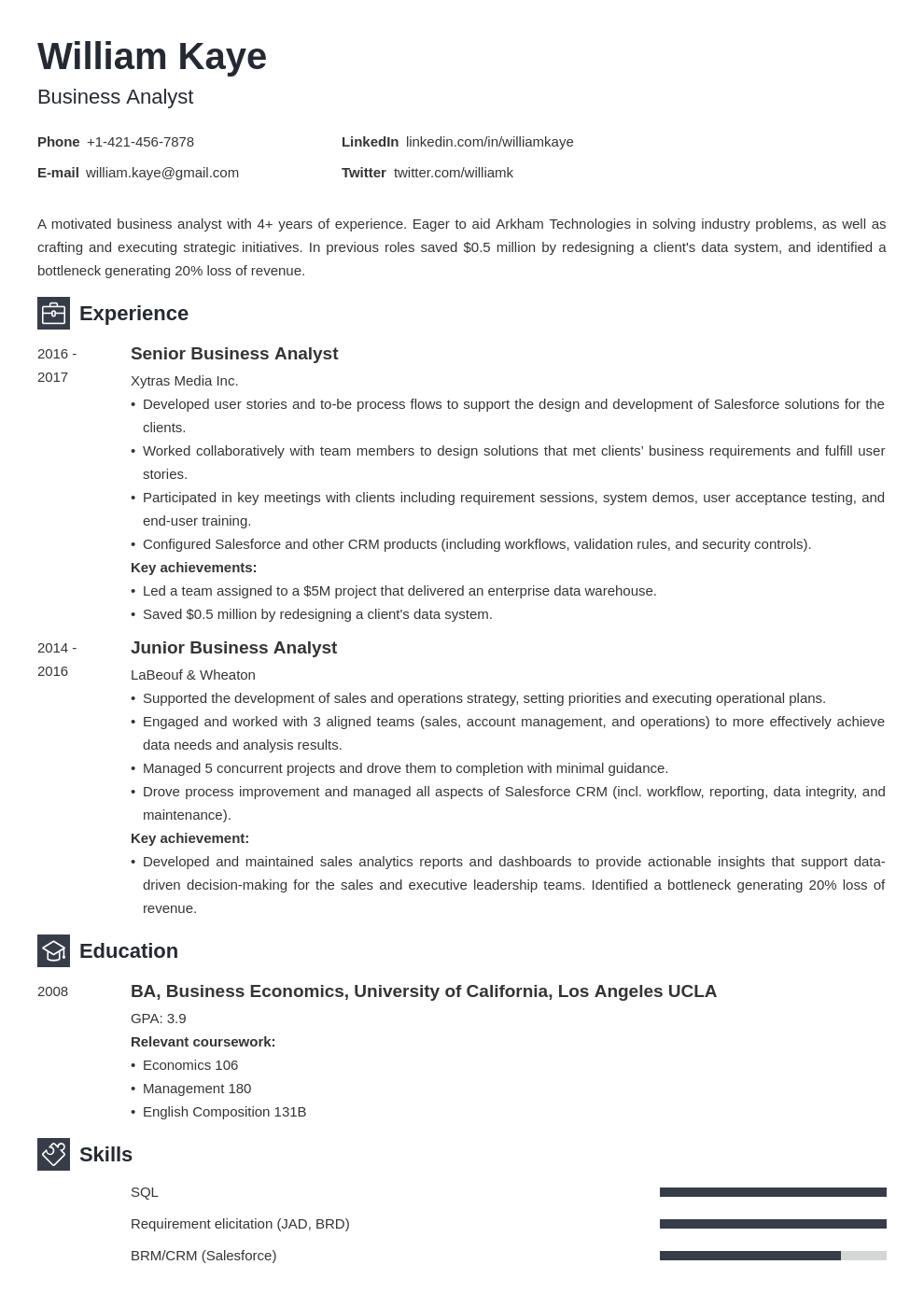 business analyst template newcast uk
