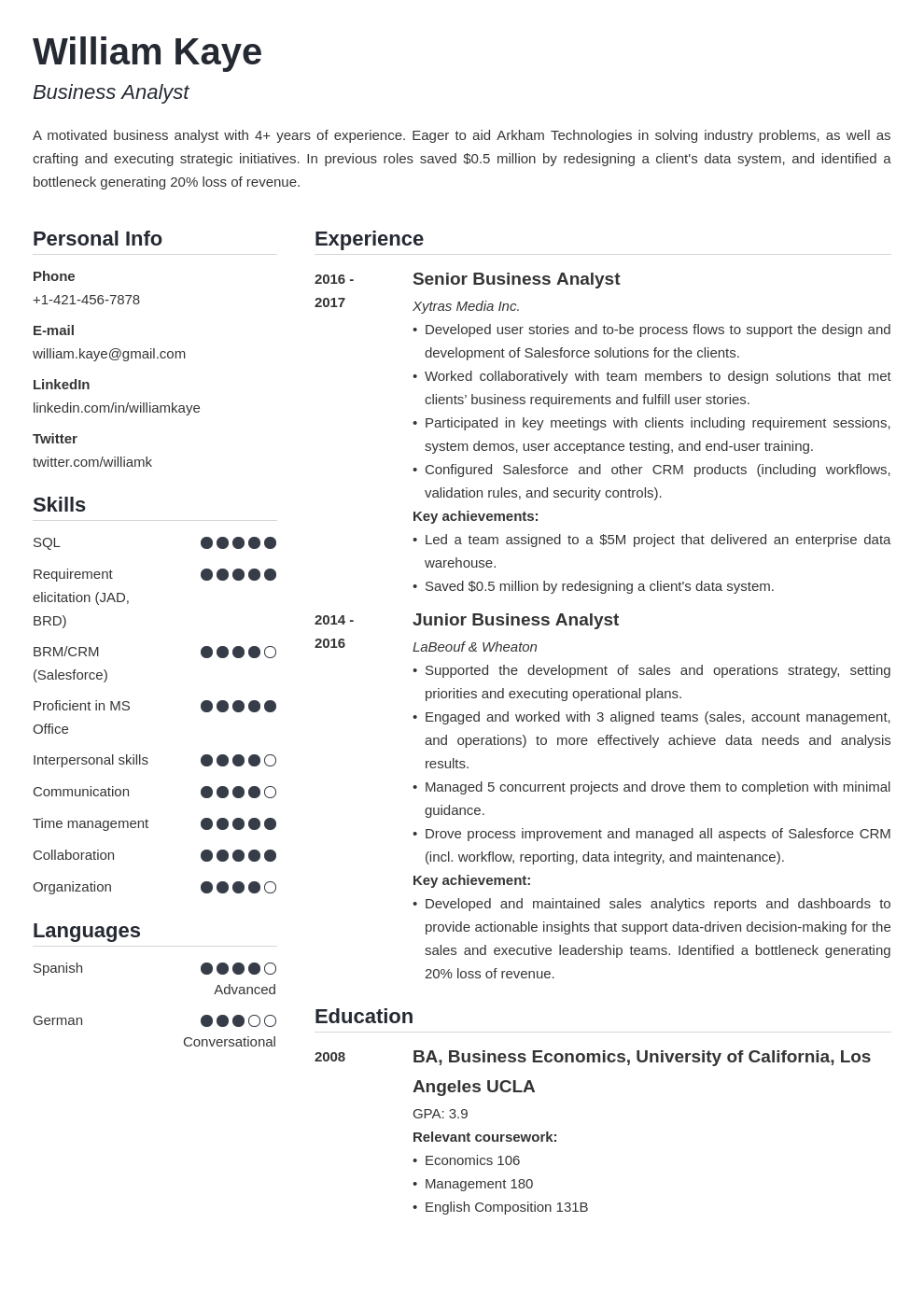 business analyst template simple uk