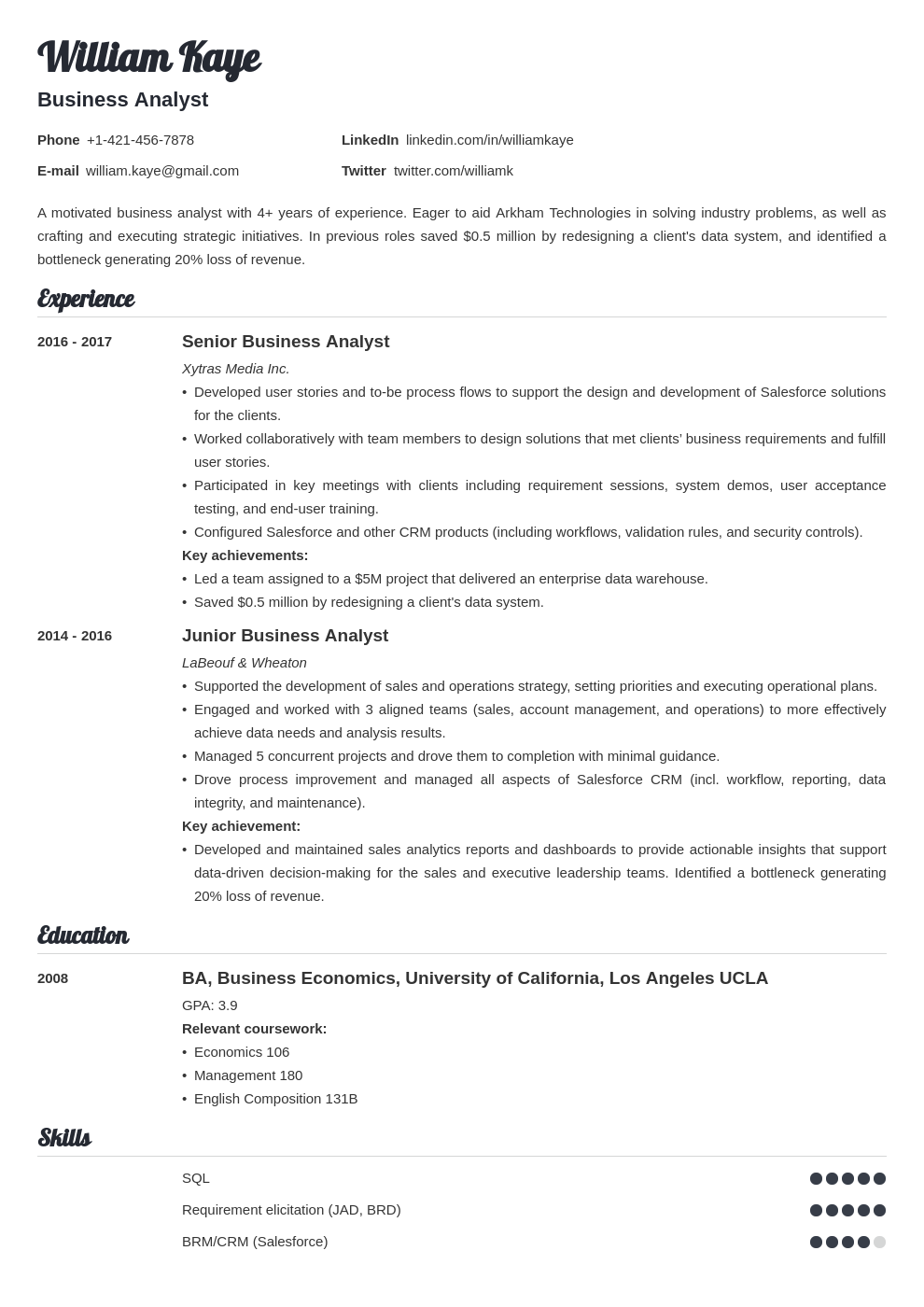business analyst template valera
