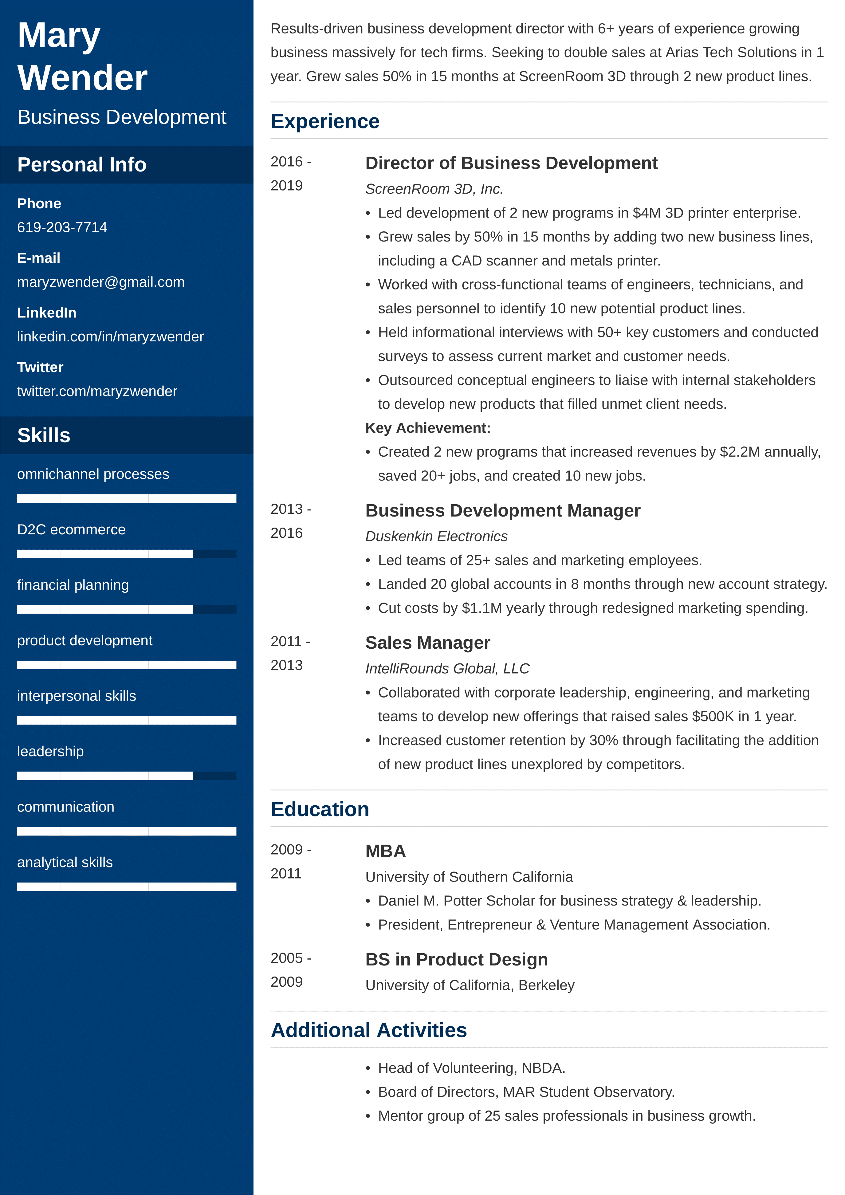 Business Development Resume—Examples and 25+ Writing Tips