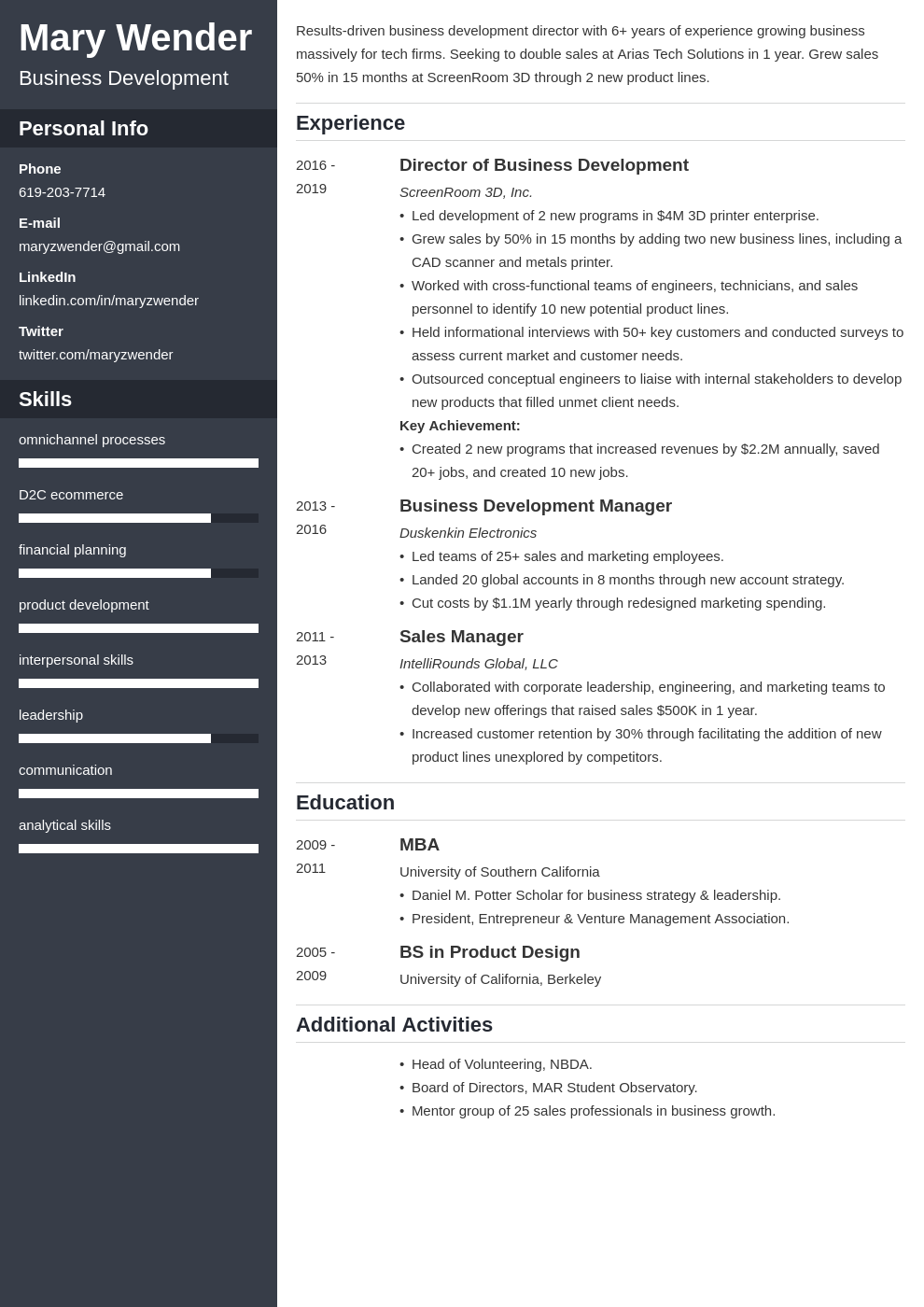 business development template cascade uk