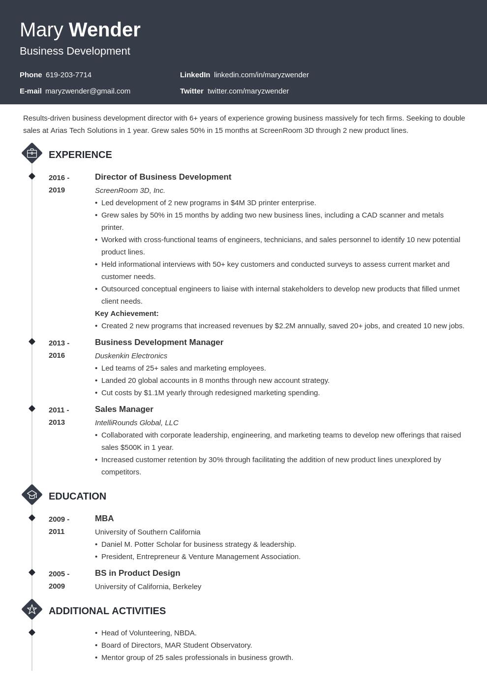 business development template diamond uk