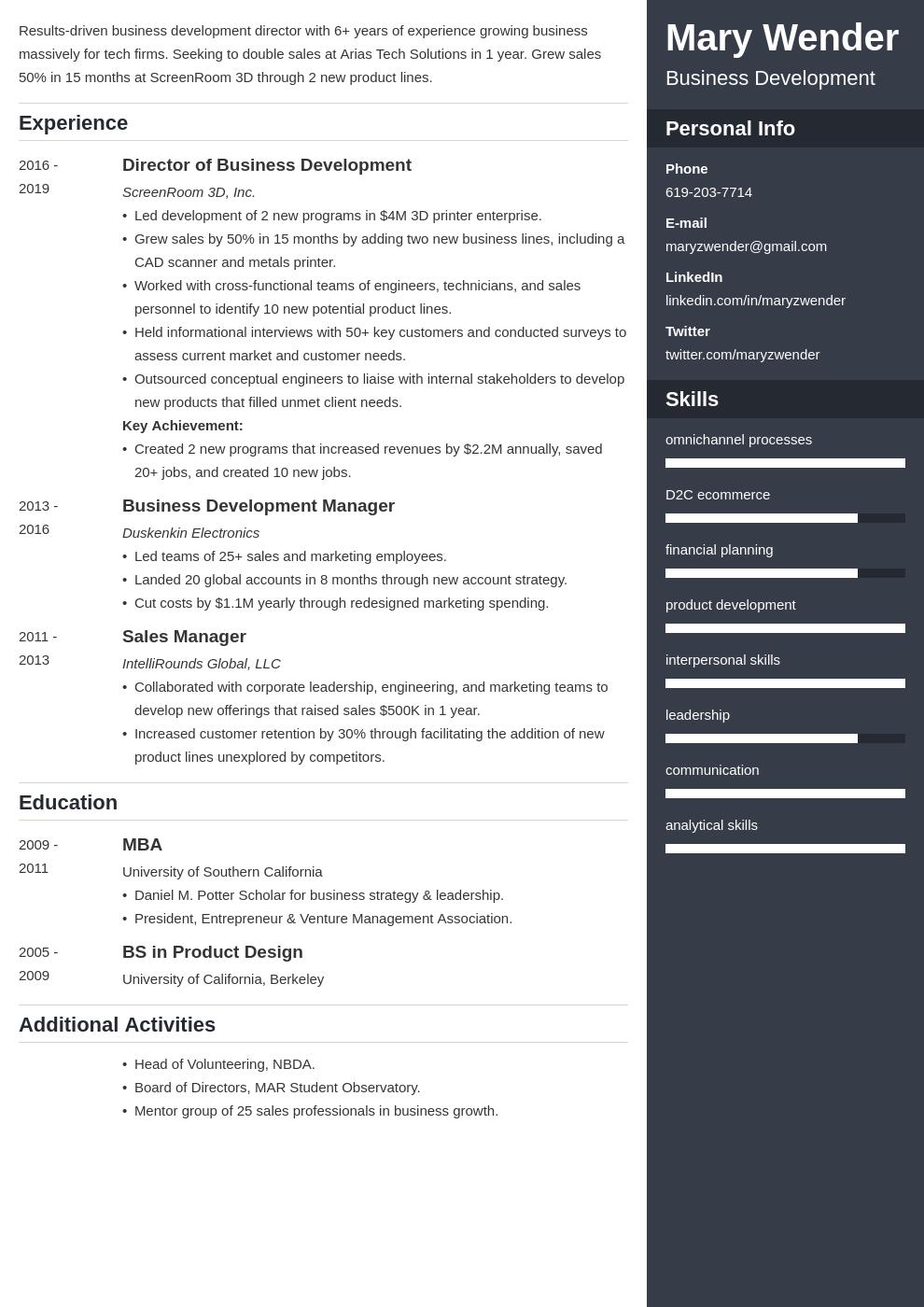 business development template enfold uk