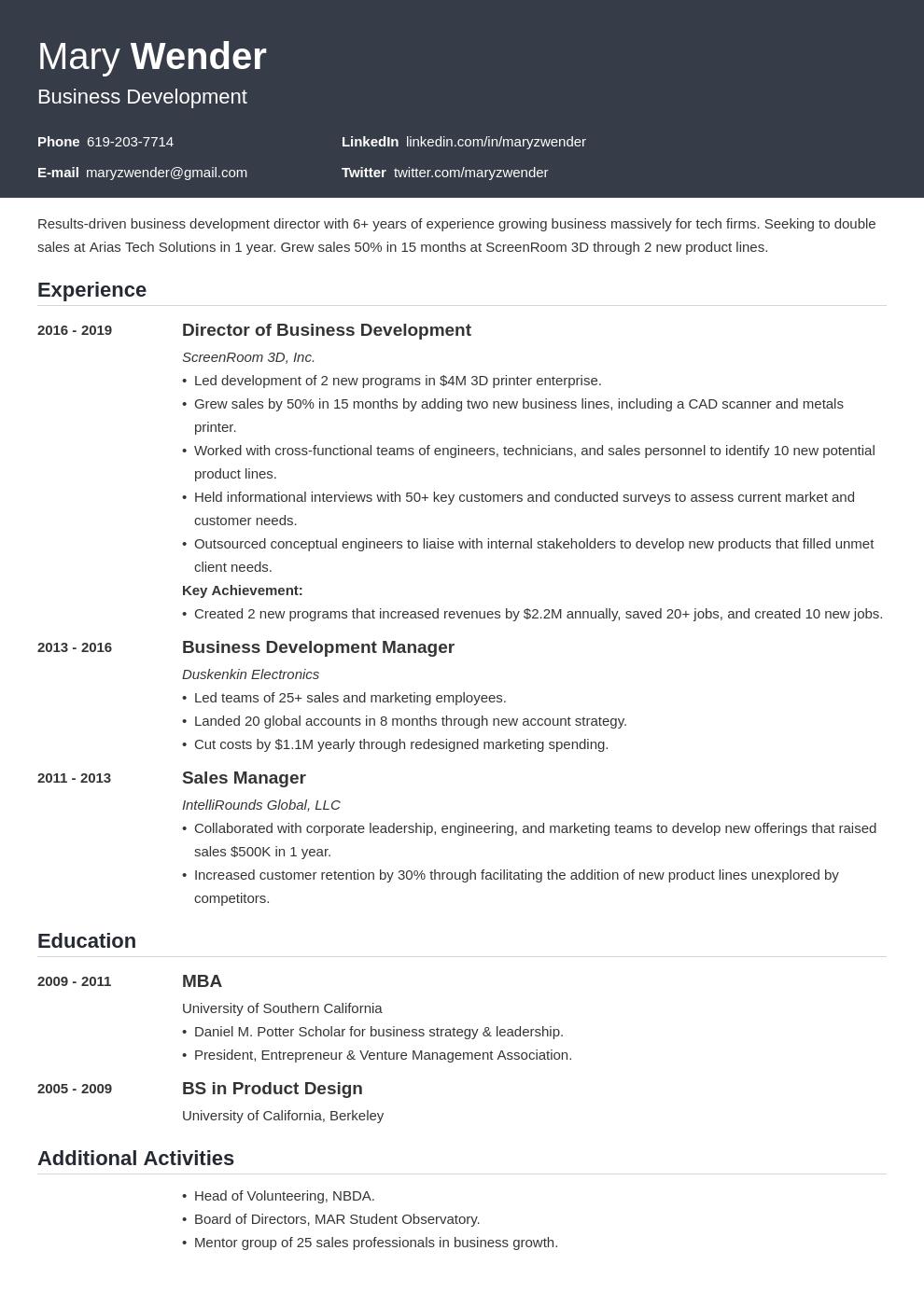business development template influx uk