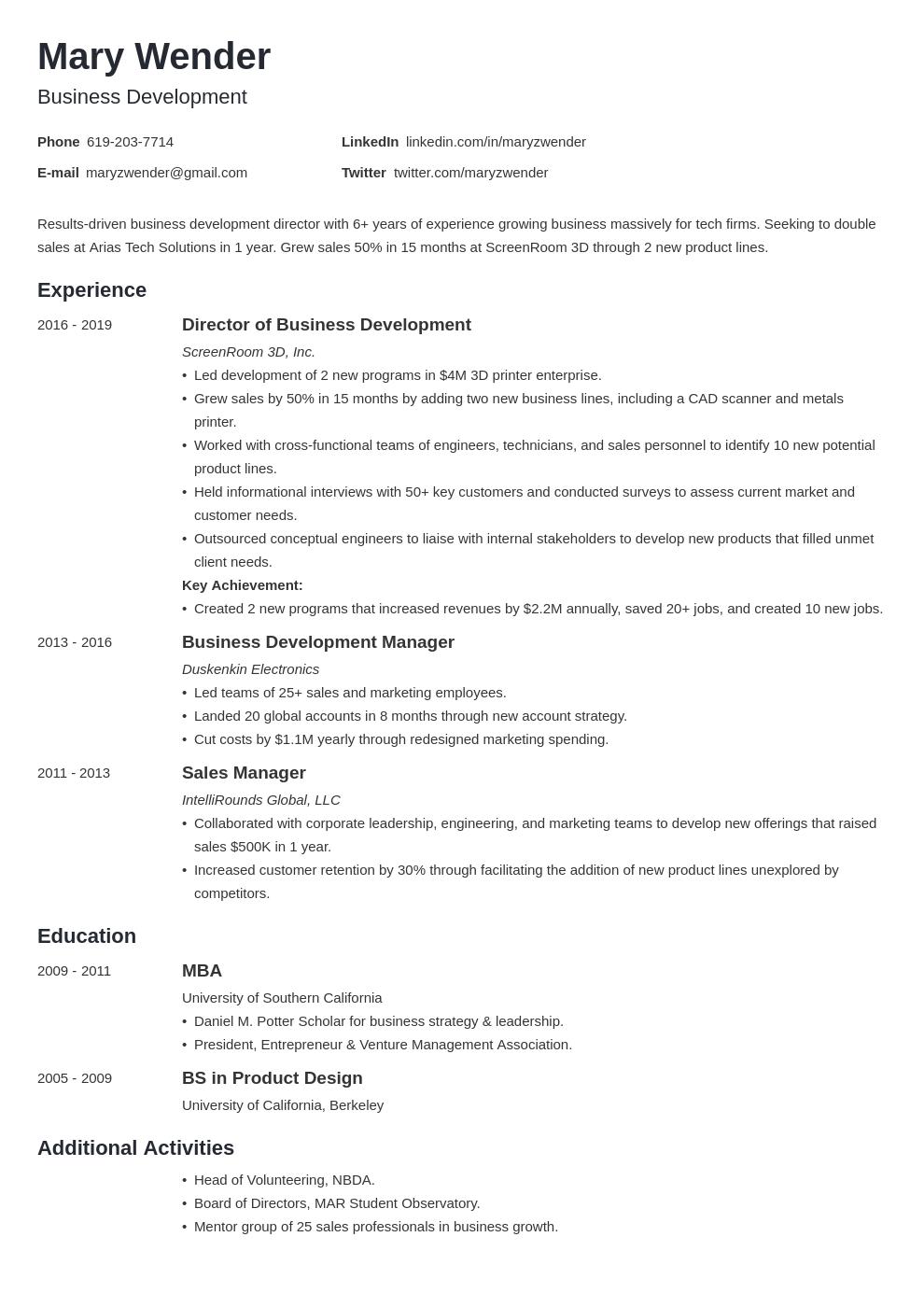business development template minimo uk