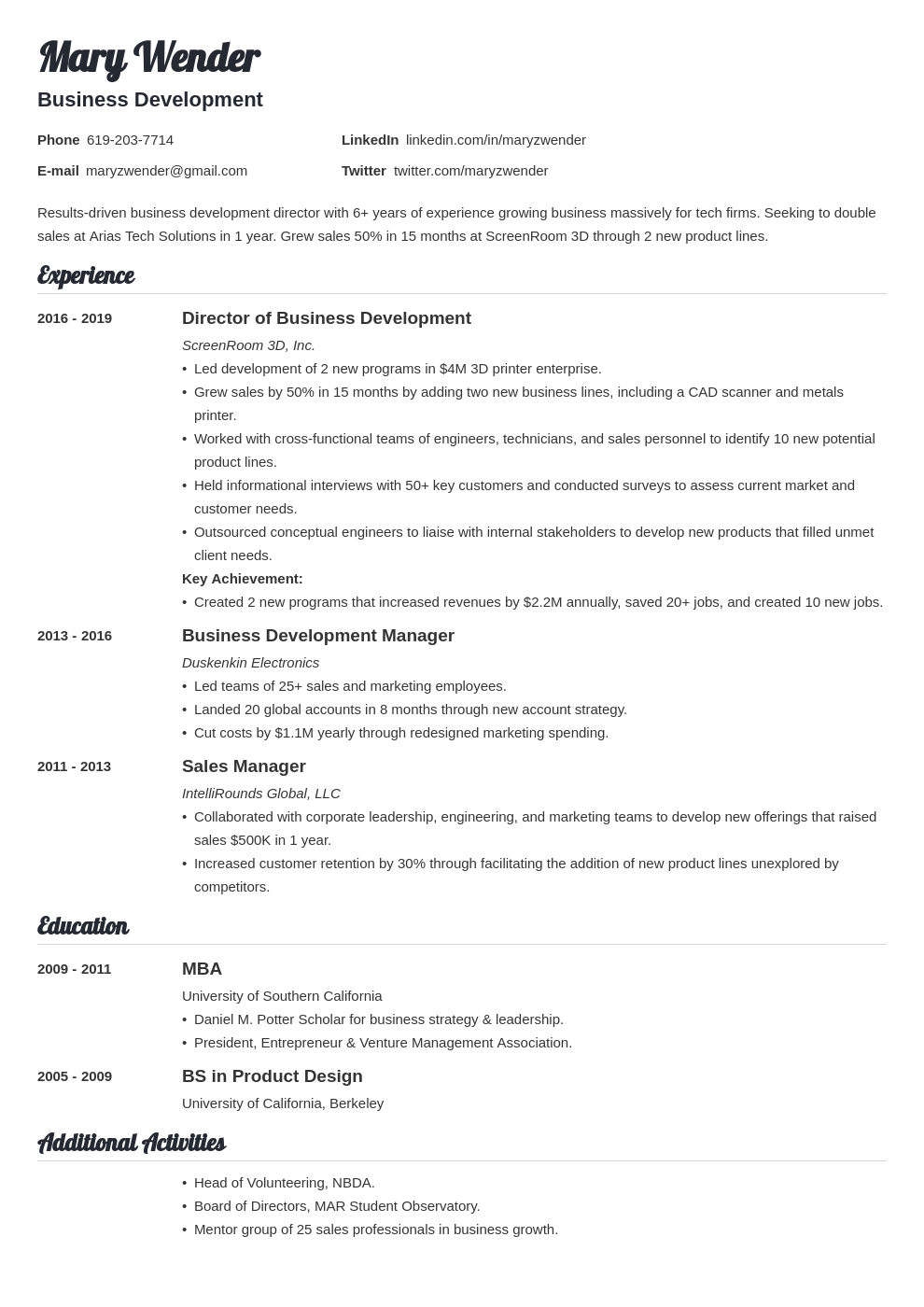 business development template valera uk