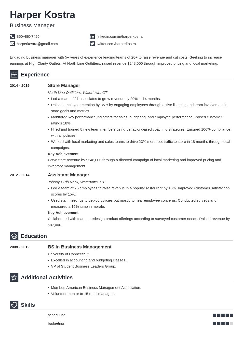 business manager template iconic uk