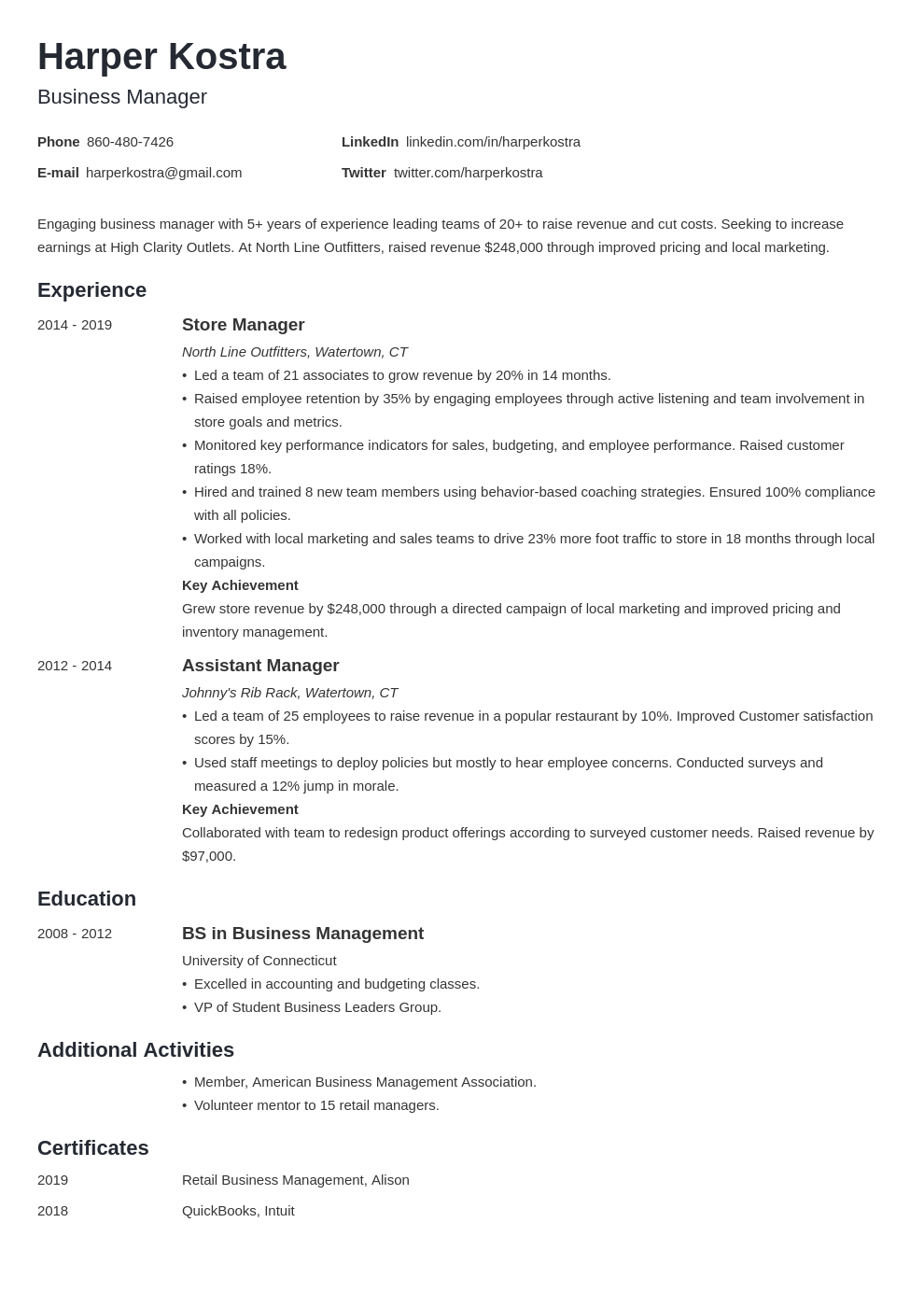 business manager template minimo uk