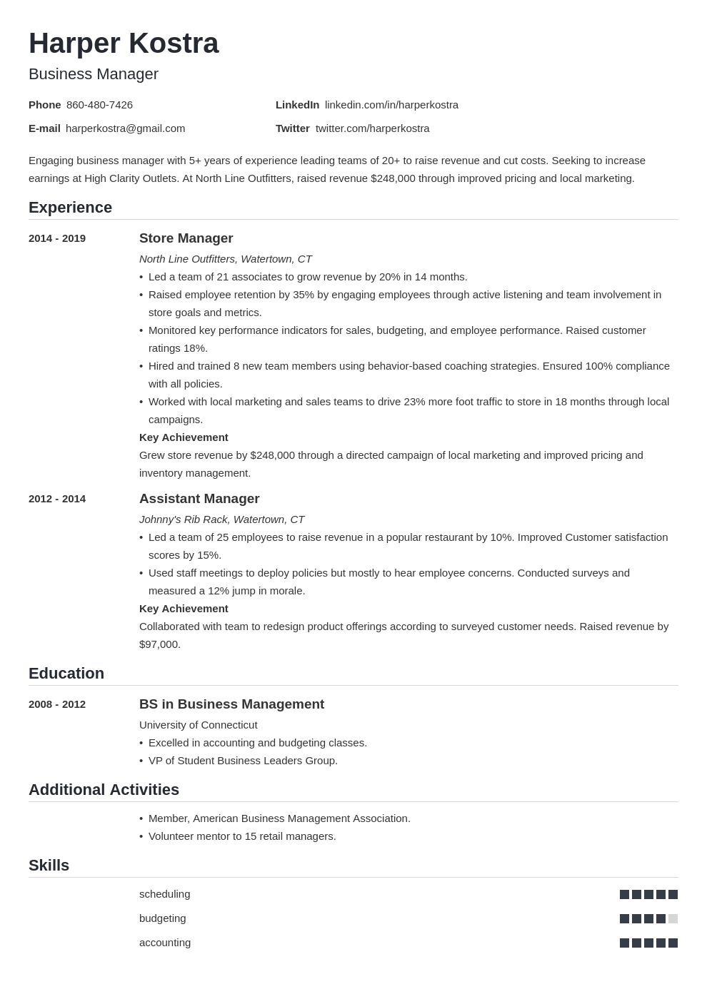 business manager template nanica uk