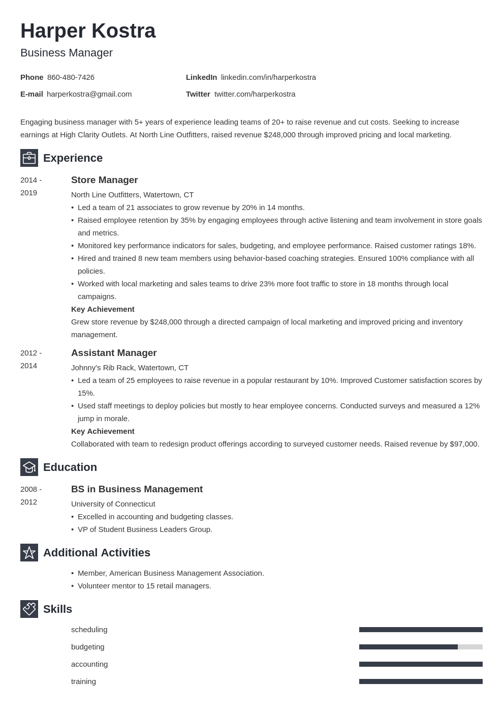 business manager template newcast uk