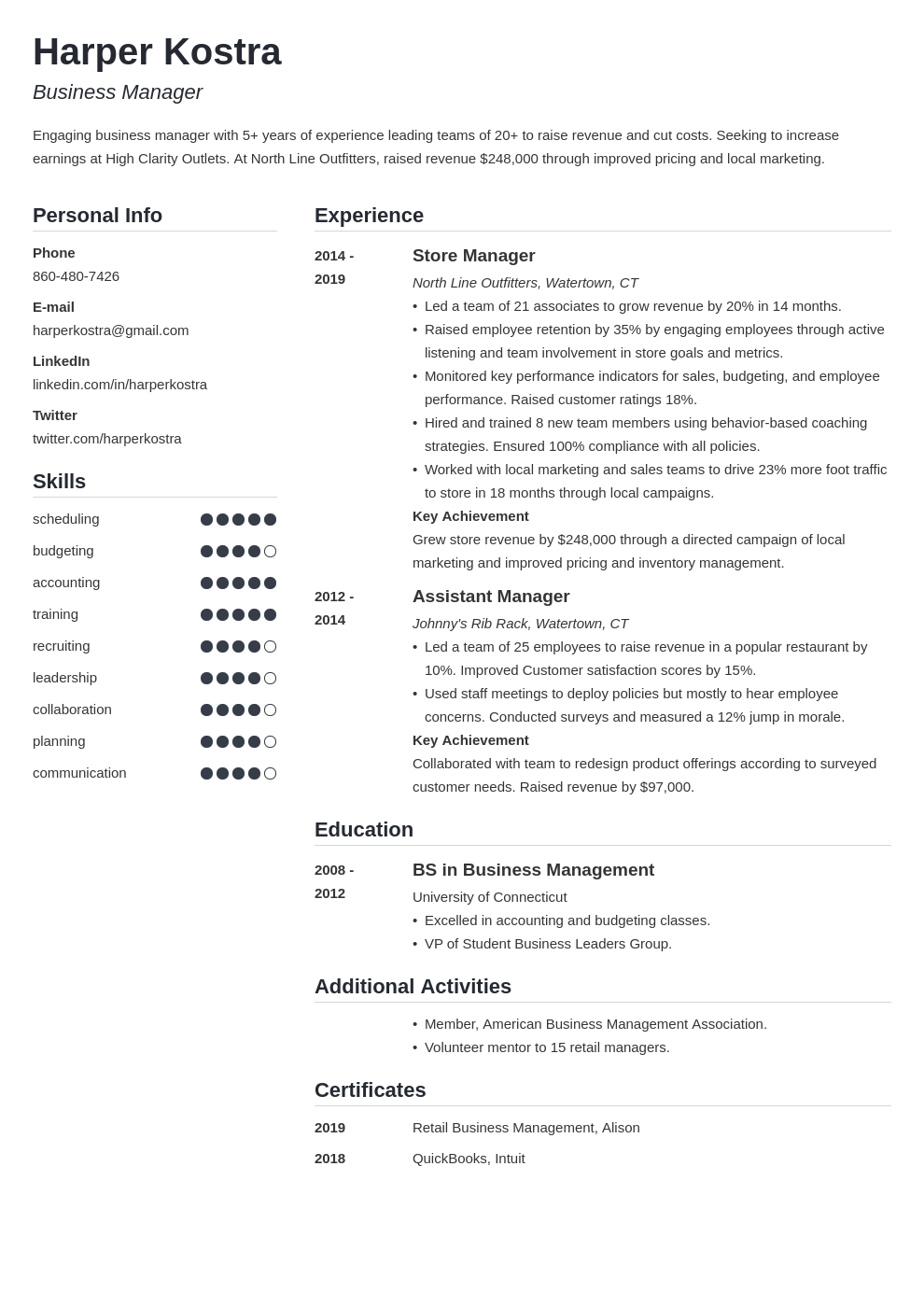 business manager template simple uk
