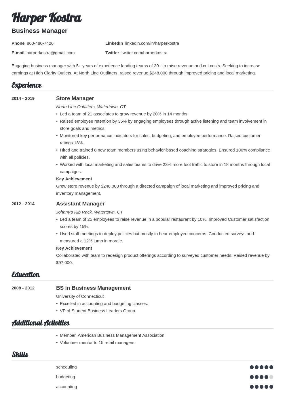 business manager template valera