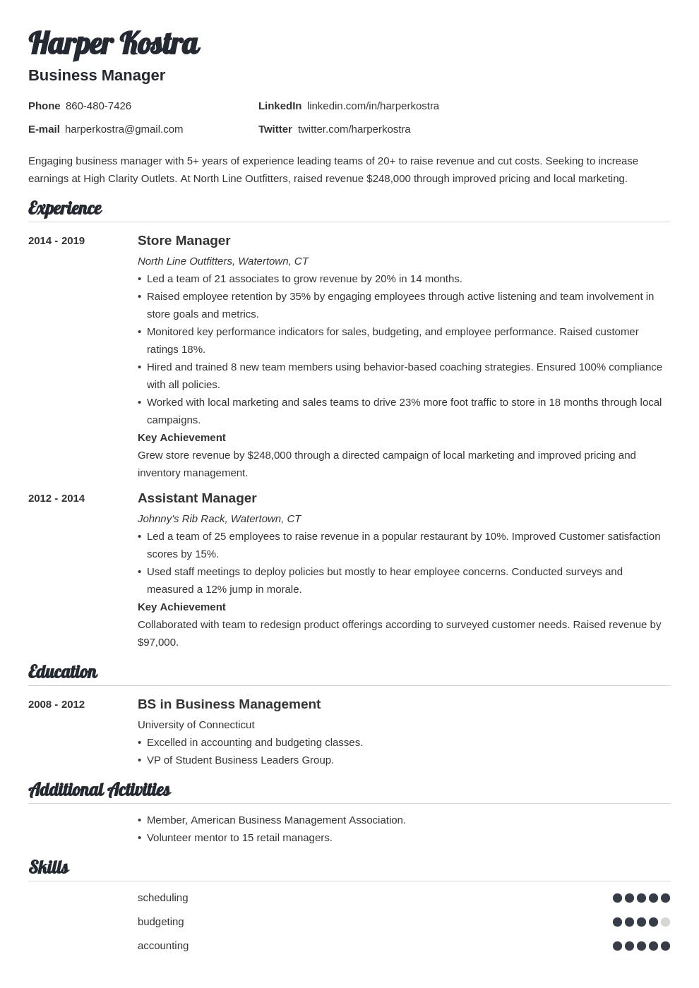business manager template valera uk