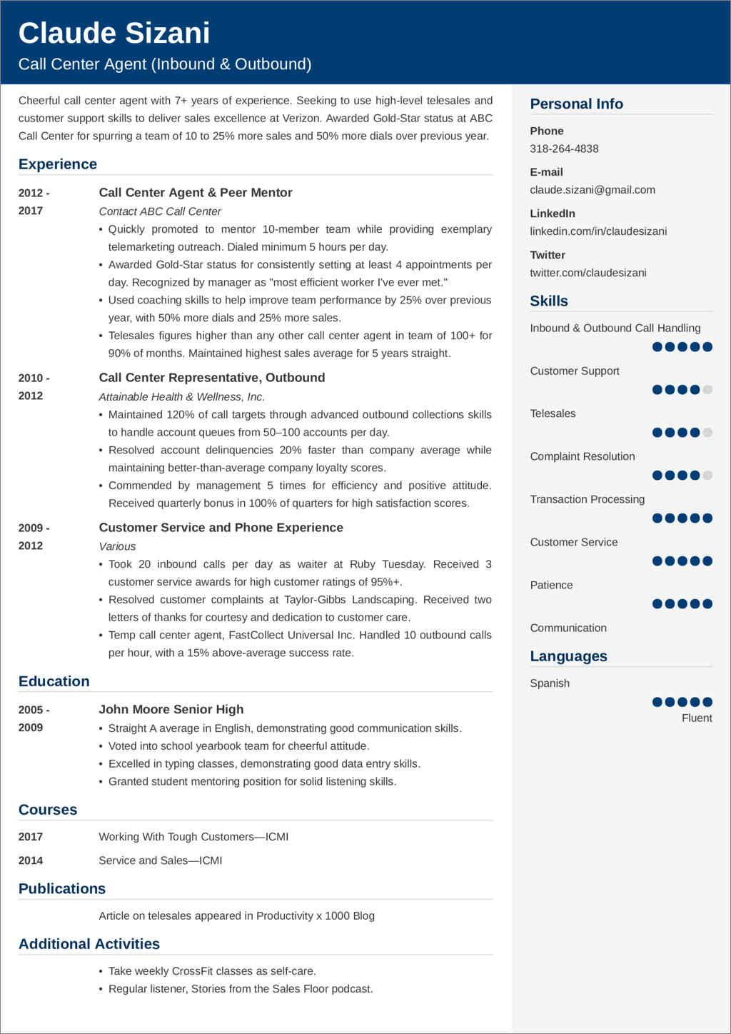 call center resume sample—25 examples and writing tips